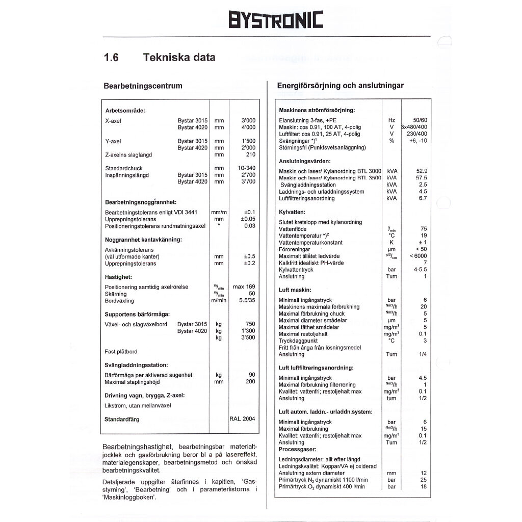 bystronic manual datablad
